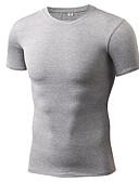 billige Løbetøj-Herre Rund hals Løbe-T-shirt - Grå, Gul, Grøn Sport T-Shirt / Toppe Kortærmet Sportstøj Hurtigtørrende, Elastisk, Afslappet / Hverdag