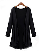 cheap Women's Sweaters-Women's Plus Size Long Sleeves Cotton Loose Cardigan - Solid Colored