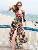 baratos Vestidos de Mulher-Feminino balanço Vestido,Praia Geométrica Decote V Longo Poliéster Verão Cintura Alta Sem Elasticidade Fina