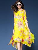 baratos Vestidos Femininos-Mulheres Tamanhos Grandes Para Noite Boho / Sofisticado Solto / Chifon / balanço Vestido - Fashion / Estampado / Chifon, Floral Médio
