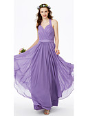 cheap Bridesmaid Dresses-A-Line Halter Floor Length Chiffon Bridesmaid Dress with Sashes / Ribbons Pleats Criss Cross by LAN TING BRIDE®