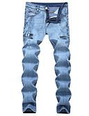 baratos Calças e Shorts Masculinos-Homens Tamanhos Grandes Algodão Solto Jeans Calças - Sólido rasgado