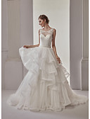 cheap Wedding Dresses-Ball Gown Illusion Neckline Sweep / Brush Train Lace Tulle Wedding Dress with Sashes/ Ribbons Tiered by Marrica