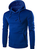 cheap Men's Hoodies & Sweatshirts-Men's Long Sleeves Long Hoodie - Solid Colored Round Neck
