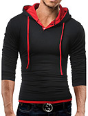 baratos Camisetas & Regatas Masculinas-Homens Camiseta - Esportes Activo Sólido Algodão Com Capuz Delgado / Manga Longa