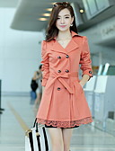 cheap Women's Blazers-Women's Cotton Trench Coat - Solid Colored, Lace