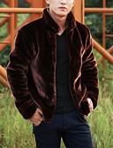 cheap Men's Jackets & Coats-Men's Fur Coat - Solid Colored Stand