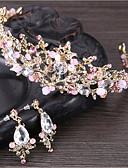 cheap Wedding Veils-Women's Crystal Jewelry Set - Flower Basic, Natural Include Tiaras White / Pink For Wedding / Anniversary / Event / Party / Engagement