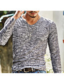 cheap Men's Tees & Tank Tops-Men's Basic Slim T-shirt - Solid Colored Print V Neck / Long Sleeve