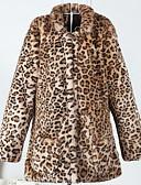cheap Women's Fur Coats-Women's Simple Casual Faux Fur Fur Coat-Leopard Stand