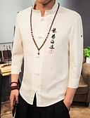 baratos Camisas Masculinas-Homens Camisa Social Casual / Temática Asiática Estampado Algodão / Linho / Colarinho Chinês / Primavera / Outono
