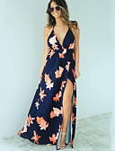 cheap Women's Dresses-Women's Beach Boho Swing Dress - Floral, Chiffon Maxi Strap
