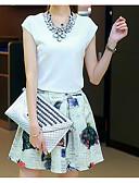 povoljno Ženski dvodijelni kostimi-Žene Pamuk Majica s rukavima - Cvjetni print, Print Suknja / Ljeto