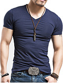cheap Men's Exotic Underwear-Men's Basic Cotton Slim T-shirt - Solid Colored V Neck / Short Sleeve