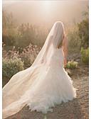 cheap Wedding Veils-One-tier Cut Edge Wedding Veil Chapel Veils 53 Flower Comb Tulle