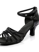 abordables Sostenes-Mujer PU microfibra sintético Zapatos de Baile Latino Hebilla Tacones Alto Tacón Bajo Personalizables Negro