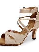 זול שמלות נשים-בגדי ריקוד נשים נעליים לטיניות נצנצים עקבים אבזם מותאם אישית נעלי ריקוד זהב / שחור / כסף / בבית / עור