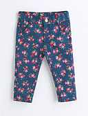 cheap Boys' Clothing-Girls' Floral Pants, Cotton Spring Fall Blue
