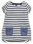 Χαμηλού Κόστους Φορέματα για κορίτσια-Νήπιο Κοριτσίστικα Ριγέ Ριγέ Αμάνικο Βαμβάκι Φόρεμα Λευκό