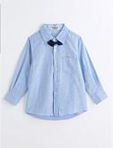 baratos Roupas de Meninas-Para Meninos Camisa Sólido Estampa Animal Primavera Outono Algodão Manga Longa Azul Claro
