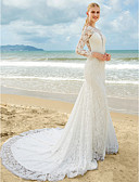 preiswerte Hochzeitskleider-Trompete / Meerjungfrau Tiefer Ausschnitt Pinsel Schleppe Überall Spitze Maßgeschneiderte Brautkleider mit Spitze / Gerafft durch LAN