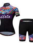 billige Triatlontøj-Miloto Dame Kortærmet Cykeltrøje og shorts - Regnbue Plusstørrelser Cykel Tøjsæt Polyester, Spandex Mønstret