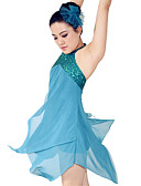 cheap Ice Skating Dresses , Pants & Jackets-Ballet Dresses Women's Performance Polyester / Spandex Draping / Paillette Sleeveless Natural Dress / Headwear