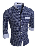 cheap Men's Shirts-Men's Active Plus Size Cotton Slim Shirt - Striped Plaid Standing Collar