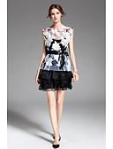 זול זנטאי (חליפות גוף)-מעל הברך שכבות / קפלים / דפוס שמלה משוחרר שרוול פרפר בגדי ריקוד נשים
