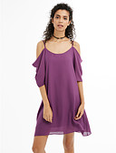 cheap Women's Dresses-Women's Plus Size Going out / Beach A Line / Chiffon Dress - Solid Colored Chiffon Strap / Spring / Summer