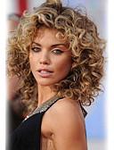 billige Kjoler-Human Hair Capless Parykker Menneskehår Krøllet Bølget Frisure i lag Høj kvalitet Medium Maskinproduceret Paryk Dame