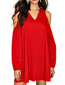 cheap Women's Dresses-Women's Loose Shift Dress - Solid Colored Red, Stylish Mini V Neck