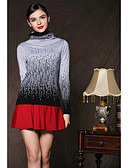 cheap Women's Sweaters-Women's Long Sleeves Cashmere Pullover - Color Block Crew Neck