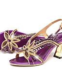 זול חליפות שני חלקים לנשים-בגדי ריקוד נשים נעליים עור קיץ / סתיו נוחות / חדשני סנדלים הליכה עקב סטילטו בוהן מציצה ריינסטון / אבזם זהב / סגול
