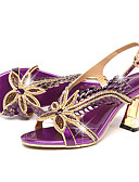 cheap Women's Sweaters-Women's Shoes Leather Summer / Fall Comfort / Novelty Sandals Walking Shoes Stiletto Heel Peep Toe Rhinestone / Buckle Gold / Purple