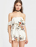 cheap Women's Jumpsuits & Rompers-Women's Beach Romper - Floral, Ruffle Floral High Rise Off Shoulder