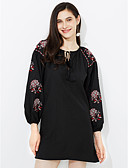 cheap Women's Nightwear-Women's Street chic Sheath Dress - Solid Colored Embroidered