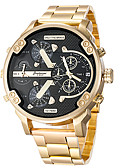 cheap Sport Watches-Men's Sport Watch / Military Watch / Wrist Watch Chinese Calendar / date / day / Cool / Punk Stainless Steel / Genuine Leather Band Luxury / Vintage / Casual Black / Gold / Large Dial / Two Years