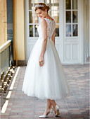 cheap Wedding Dresses-Princess Illusion Neck Tea Length Lace Over Tulle Made-To-Measure Wedding Dresses with Buttons / Sashes / Ribbons by LAN TING BRIDE®