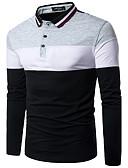 baratos Camisetas & Regatas Masculinas-Homens Polo Activo / Moda de Rua Estampa Colorida Colarinho de Camisa Delgado Preto & Branco / Manga Longa