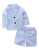 povoljno Kompletići za dječake-Dječaci Pamuk Poliester Prugasti uzorak Dungi Ljeto Dugih rukava Komplet odjeće Na prugice Plava