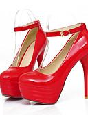 رخيصةأون كيلوتات-نسائي PU الربيع مريح كعوب كعب ستيلتو أمام الحذاء على شكل دائري أبيض / أسود / أحمر