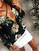 abordables Blusas para Mujer-Mujer Boho Noche Lazo Cruzado Camiseta, Escote en V Profunda Floral