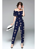 cheap Women's Coats & Trench Coats-Women's Going out Holiday Jumpsuit - Art Deco, Print High Rise Boat Neck