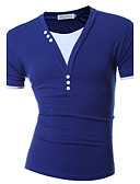 cheap Men's Tees & Tank Tops-Men's Active Slim T-shirt - Solid Colored Blue & White, Pure Color V Neck / Short Sleeve
