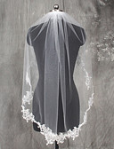 cheap Wedding Veils-One-tier Lace Applique Edge Wedding Veil Elbow Veils 53 Appliques Lace Tulle