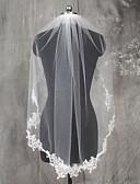 baratos Véus de Noiva-Uma Camada Borda com aplicação de Renda Véus de Noiva Véu Cotovelo Com Apliques Renda Tule