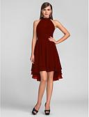 billige Kjoler med trykk-A-linje Grime Asymmetrisk Chiffon Liten svart kjole / Asymmetrisk lengde / Nøkkelhullet Cocktailfest Kjole med Plissert av TS Couture®