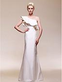hesapli Gece Elbiseleri-Sütun Tek Omuz Yere Kadar Tafta Fırfırlı ile Resmi Akşam / Düğün Partisi Elbise tarafından TS Couture® / Ünlü Stili