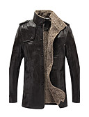 cheap Men's Jackets & Coats-Men's Plus Size Leather Jacket - Solid Colored Stand / Long Sleeve